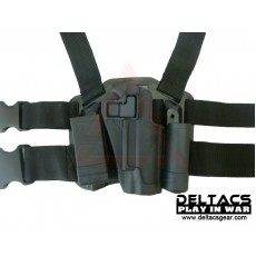 Deltacs CQC Drop leg Tactical Holster w/Magazine & Light Case for 1911 - Black